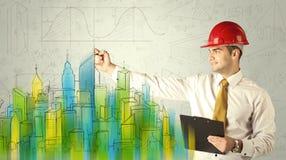 速写都市风景的企业建筑师 免版税库存图片
