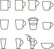 速写饮料象 茶,咖啡,汁液,黑等高,稀薄的线,杯子,玻璃,设计元素,标记咖啡馆,餐馆 图库摄影