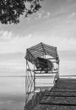 速度在湖的小船推力 库存照片