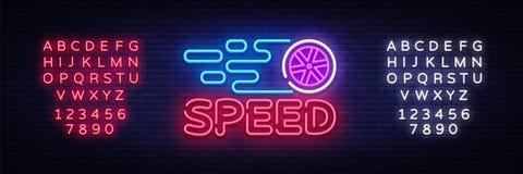 速度夜霓虹商标传染媒介 赛跑霓虹灯广告,设计模板,现代趋向设计,炫耀霓虹牌,夜 库存照片