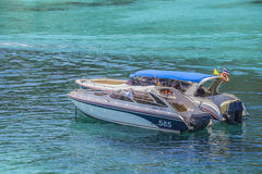 速度小船在热带海,安达曼海 库存照片