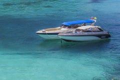速度小船在热带海,安达曼海 免版税库存照片