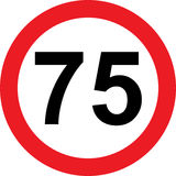 75速度局限路标 图库摄影