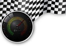 速度计和方格的旗子背景 库存图片