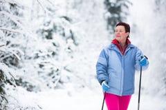 速度滑雪:少妇速度滑雪 库存照片