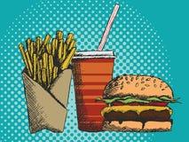 速食手拉的菜单在快餐的用油炸物汉堡和饮料 图库摄影