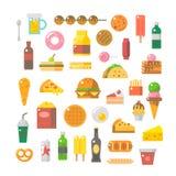 速食集合平的设计  免版税库存图片