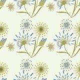 仿造在创造性轻的背景的艺术的野花柔和的米黄蓝色 免版税库存照片