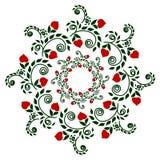 仿造在颜色的植物石榴石,种族样式刺绣,画 免版税图库摄影