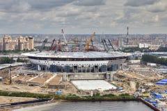 建造场所体育设施,现代橄榄球s顶视图  免版税库存图片