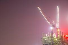 建造场所在晚上 免版税库存图片