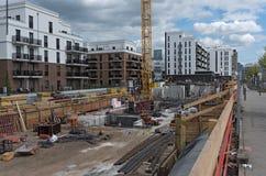 建造场所在法兰克福, Europaviertel一个新的区  免版税库存照片