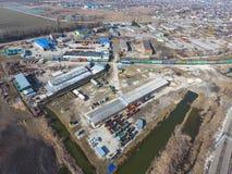 建造场所基地的顶视图 流洒存贮藏库席子 图库摄影