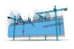 建造场所广告牌 免版税库存图片
