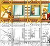 建造场所-与预览的着色页 库存图片