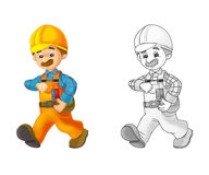 建造场所-与预览的着色页 免版税库存图片