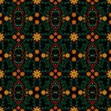 仿造抽象红色花黄色黑色设计绿色叶子向量图形 免版税库存图片