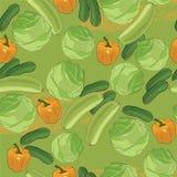 仿造无缝的蔬菜 手拉与水彩作用 向量例证