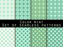仿造无缝的集 颜色薄菏 墙纸的样式 免版税库存图片