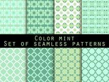 仿造无缝的集 颜色薄菏 墙纸的,床单,瓦片,织品,背景样式 向量 免版税库存图片