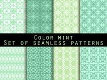 仿造无缝的集 颜色薄菏 墙纸的,床单,瓦片,织品,背景样式 向量 免版税图库摄影