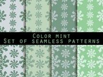 仿造无缝的集 颜色薄菏 墙纸的,床单,瓦片,织品,背景样式 库存照片