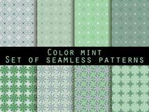 仿造无缝的集 颜色薄菏 墙纸的,床单,瓦片,织品,背景样式 免版税库存图片