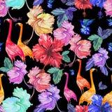 仿造无缝的水彩热带花、棕榈树和鸟 免版税库存图片