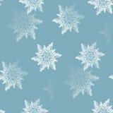 仿造白色蓝灰色被弄脏的抽象无缝的雪花 库存照片