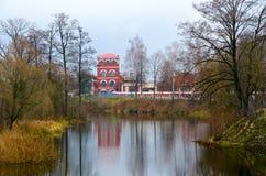造纸厂大厦复合体在Iput河,多布鲁什,白俄罗斯河岸的1870  免版税库存照片