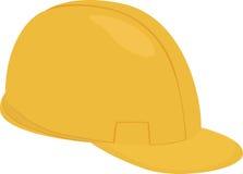 建造者动画片在白色隔绝的黄色盔甲 免版税库存照片