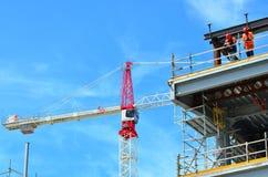 建造者在克赖斯特切奇新西兰修建一个新的大厦 库存图片