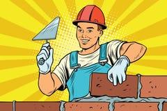 建造者砖砌建筑和修理 库存例证