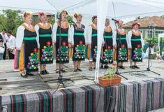 建造者 在Nestenar比赛的农村欢乐的唱诗班在保加利亚人村庄  库存图片