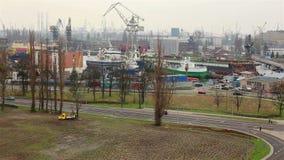 造船厂工业区在格但斯克 股票视频