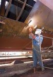 造船厂焊工 免版税库存图片