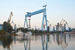 造船厂起重机 库存图片