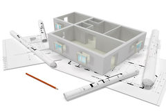 建造计划,全视图 免版税库存图片
