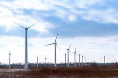 造风机,风轮机,风力植物,能量,从风的电的环境友好的类型 图库摄影
