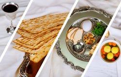 逾越节犹太食物Pesach未发酵的面包和发酵的硬面在照片拼贴画另外图片上添面包 库存图片