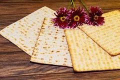 逾越节背景 发酵的硬面犹太假日面包和花在大丁草 库存图片
