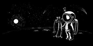 遇见飞碟传染媒介例证,横幅的宇航员 旅行在星系的人到星和行星