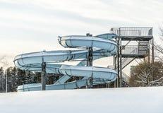 水滑道在与雪的冬天 免版税图库摄影
