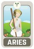 黄道带人卡片:白羊星座 免版税库存图片