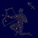 黄道带在满天星斗的天空的标志人马座 库存照片
