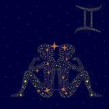 黄道带在满天星斗的天空的标志双子星座 库存图片
