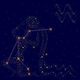 黄道带在满天星斗的天空的标志宝瓶星座 免版税库存照片