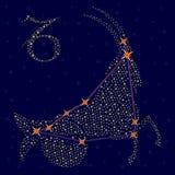 黄道带在满天星斗的天空的标志山羊座 库存图片
