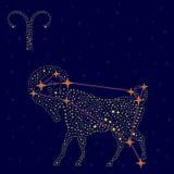 黄道带在满天星斗的天空的标志白羊星座 库存照片