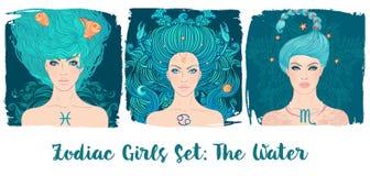 黄道带女孩被设置:水 双鱼座的传染媒介例证,巨蟹星座, 皇族释放例证